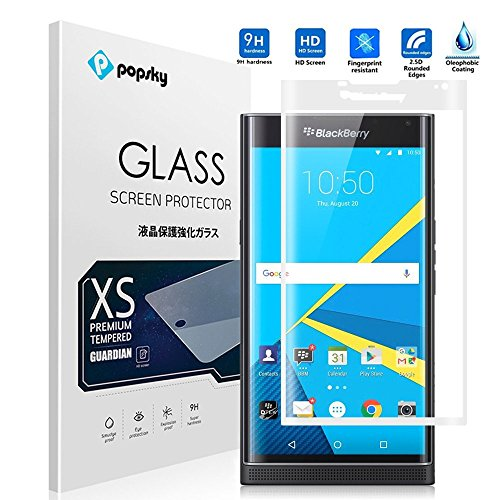 BlackBerry Priv Screen Protector [Tempered Glass] [Full Coverage] [Colored Edge], Popsky [3D Full Curved Edge] [No Bubble] Ultra Clear 9H Hardness Scratch Proof Protective Film (White)