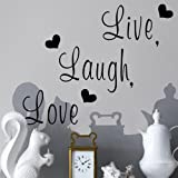 "Zooyoo "" Live, Laugh, Love "" Love Heart DIY Removable Wall Decal for Living Room Bedroom Vinyl Wall Sticker Art Home Decoration"