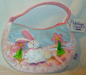 Plush Bunny Rabbit With Spring Flowers Purse. Perfect for Easter!