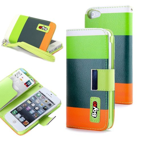 Bayke Brand Apple iPhone 5 5S (5C not Fit) Fashion Designer Colorful PU Leather Wallet Case with Strap with Stand with Magnetic Clip with Credit Card Slots & Holder (Green+Dark Green+Orange) at Amazon.com