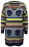 Womens Long Sleeve Chunky Stripe Skull Ladies Aztec Multi Colour Knitted Jumper Dress One Size