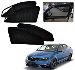 Auto Pearl - Premium Quality Zipper Magnetic Sun Shades Car Curtain For - Skoda Octavia Old - Set of 4 Pcs
