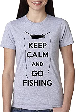 Women 39 s keep calm and go fishing t shirt funny for Fishing shirts that keep you cool
