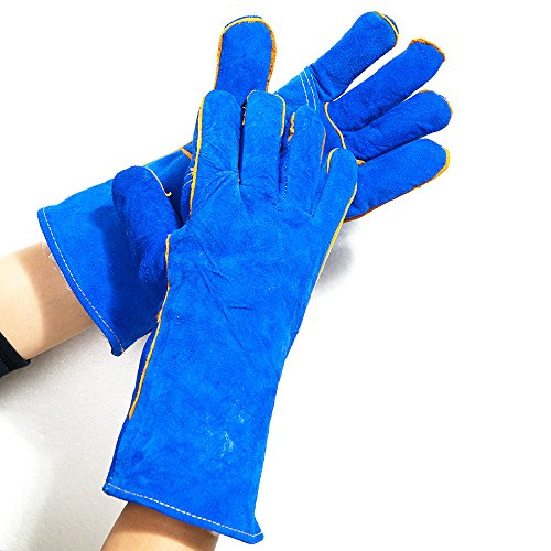 Blue Large Cowhide Suede Kevlar/Leather Welding Glove - With Thumb - Fully Welted, Kevlar Stitching, Reinforced Thumb
