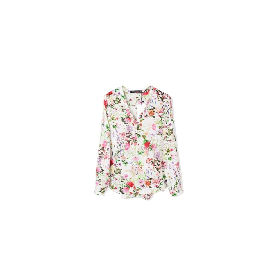 9f25530dd8 WHATWEARS Womens V neck Floral Print Roll up Loose Chiffon Shirt Blouse Tops