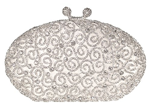 Scroll Luxury Crystal Hard Case Evening Clutch Handbag With Detachable Chain, Silver