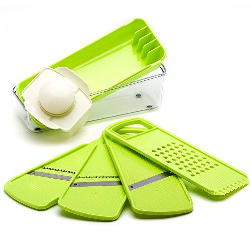 Mandoline - Trancheuse de légumes et fromages - Lames en Acier Inoxydable Premium - Plastique Alimentaire Robuste - Compact, Léger et Polyvalent - Idéal pour repas equilibré