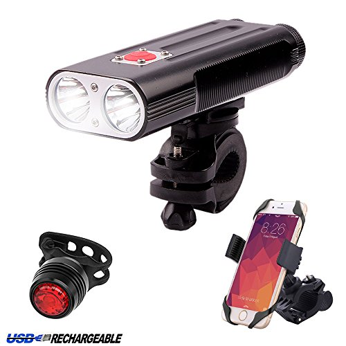 NewRice® 1200 Lumens Bike Headlight &Taillight Combinations. 2x