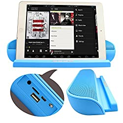 DMG Wireless Bluetooth Flat Speaker With Stand Dock Built-in 3.5mm Aux Port FM TF Card Support for iPad/iPhone/Smartphones and Tablets
