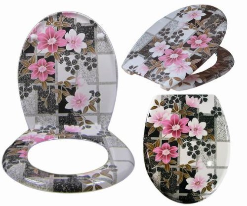 wc sitz toilettensitz toilettendeckel mit absenkautomatik pink flower. Black Bedroom Furniture Sets. Home Design Ideas