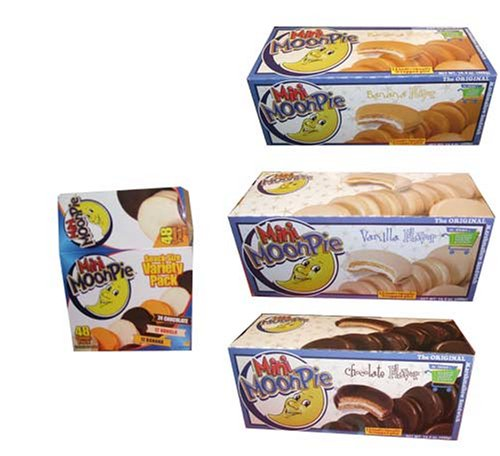 Mini Moon Pie Variety Pack Chocolate, Vanilla, and Banana, 48 Count Box!