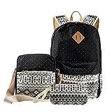 Lemonda-3-in-1-Gelegenheits-Tribal-Dots-Canvas-Rucksack-Schule-Bag-Messenger-Bag-Handtasche-Schwarz