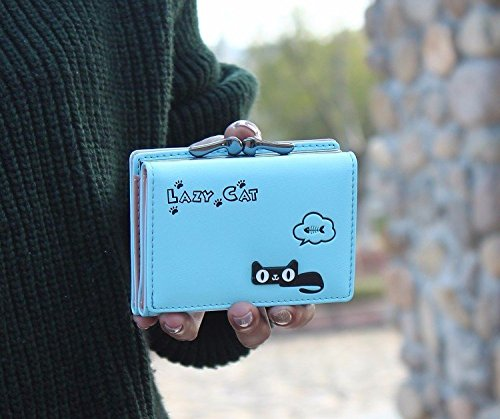 bb666f59d42 Blue - Cute Cat Short Vintage Womens Wallet Small Clutch Wallet Hand purse  For Womens Women's Girls ...
