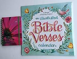 2 Item 2016 Calendar Bundle - 1-2016 Illustrated Bible Verses Calendar and 1-2016 Punctuate Weekly Planner