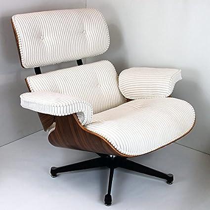 Funda de nogal y pana silla y otomana Inspired by Charles Eames