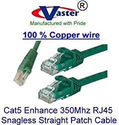 Vaster SKU - 20673, 10 Ft, High Speed Special (100% Copper 24Awg wire Green Color) UTP Cat5 Enhance 350Mhz RJ45 Snagless Straight Patch Cable (Only Copper wire, NO CCA)