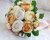美しい花嫁 ラナンキュラス ブーケ ( フラワーシャワー 200枚付 ) ブライダル ブーケ ウエディング 花束 ( オレンジ )
