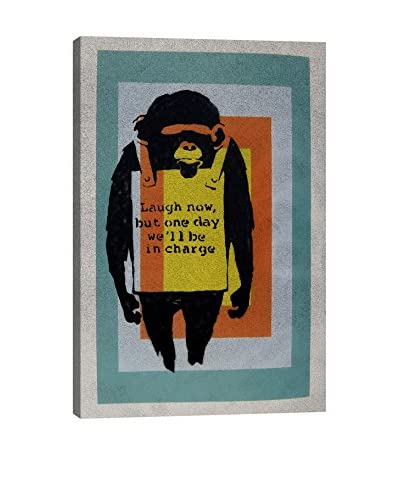 Banksy Laugh Now, Sandwich Board Wearing Monkey Color Tunnel Canvas Print