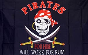 Pirate Will Work For Rum Indoor Outdoor Parade Dyed Flag by Flag
