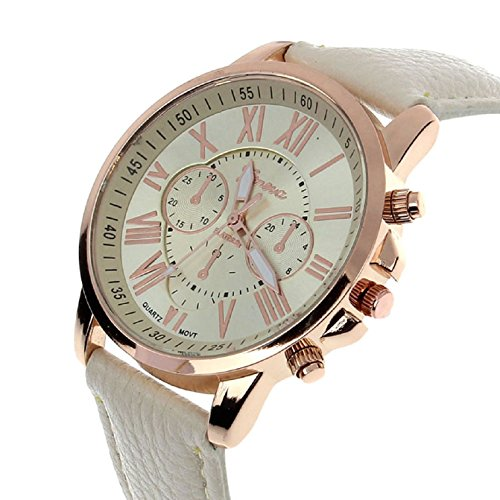 Sanysis Women'S Roman Numerals Faux Leather Analog Quartz Wrist Watch(Beige)