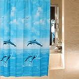 シャワーカーテン 防水防カビ加工 カーテンリング付属 180×180cm イルカ A021001BA