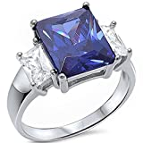 Radiant Cut Simulated Tanzanite & Baguette Cubic Zirconia .925 Sterling Silver Ring Sizes 5-10