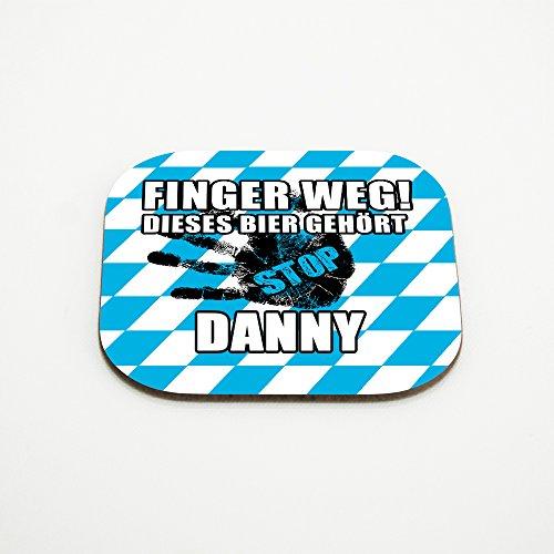 Untersetzer für Gläser mit Namen Danny und schönem Motiv - Finger weg! Dieses Bier gehört Danny
