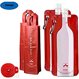 iNeibo Reusable Foldable ,Flexible, Wine Bag for Wine to Go 750ml - Includes Wine Bottle Carrying Case & Collapsible Filling Funnel ¡§C Bonus Climbing Hook and Reusable Wine Totes (2,Red)