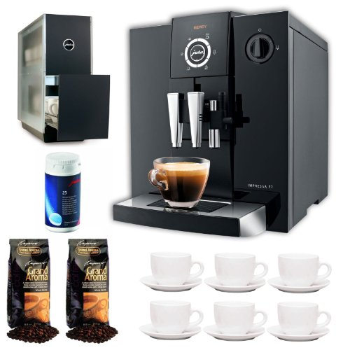 Jura Capresso Impressa F7 With Grand Aroma Whole Bean Coffee (Espresso), 25-Pack Coffee Machine Cleaning Tablets, Warmer Black Stainless Steel And Set Of 6 Ceramic Tiara Espresso Cups (3 Oz) And Saucers front-538034