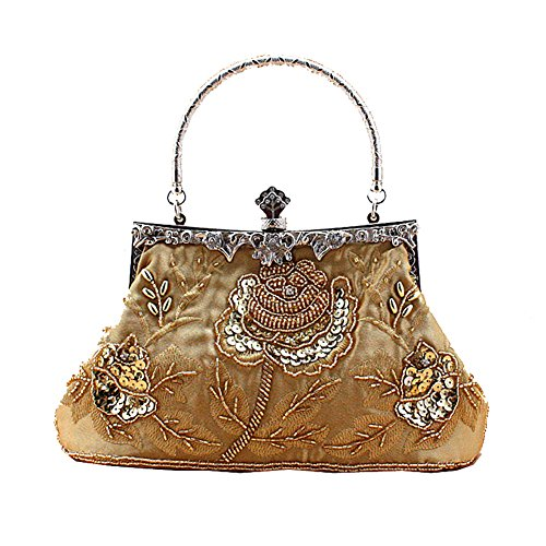 Senchanting Exquisite Antique Seed Beaded Rose Evening Clutch Handbag (Gold)