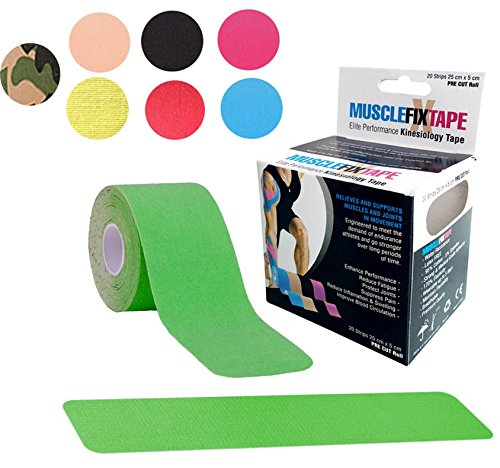 Green MUSCLE FIX Kinesiology Recovery Sports Athletic Injury Therapeutic Support Tape Precut PRO Kinesio KT Roll (20 Strips 10 in X 2 In / 25 cm x 5 cm) Shoulder Knee Lower Back (Duct Jack compare prices)