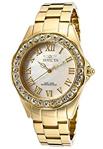Invicta Women's 14146 Angel White Mother-Of-Pearl Dial 18k Gold Ion-Plated Stainless Steel Watch