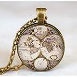 World map necklace, world map pendant, world map jewelry