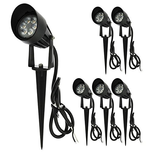 LEDwholesalers Low Voltage LED Outdoor Landscape Garden Metal Spot Light Fixture with Built-In Shade 12V AC/DC 7W (6-Pack), Warm White, 3753WWx6