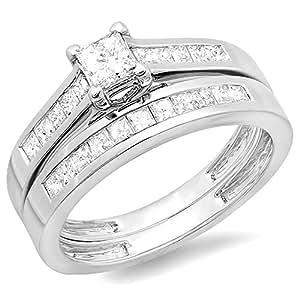 1.00 Carat (ctw) 14K White Gold Diamond Bridal Ring Engagement Set Matching Wedding Band 1 CT (Size 4)