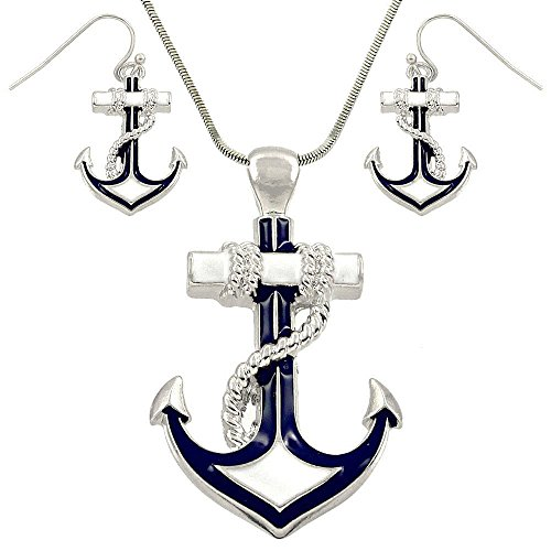 DianaL-Boutique-Silvertone-Enameled-Nautical-Anchor-Pendant-Necklace-and-Earring-Set-with-24-Snake-Chain