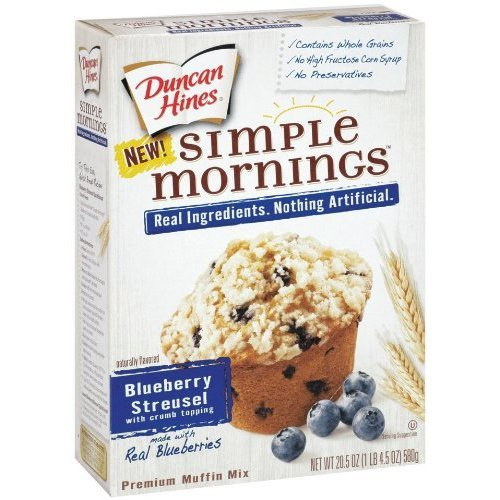 Duncan Hines Simple Mornings Whole Grain Blueberry Streusel Muffin Mix 20.5 oz (Pack of 5) (Simple Mornings Muffin Mix compare prices)