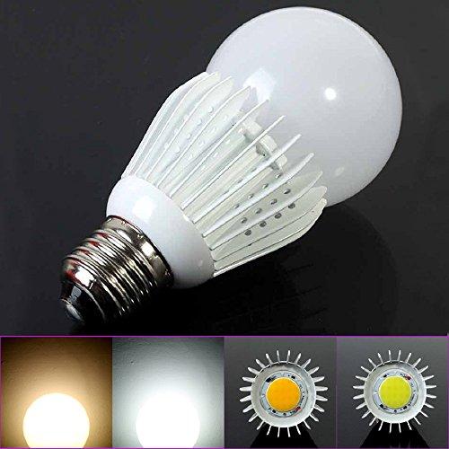 Lvjing® 5Pcs High Power E27 Base Warm White 10W Dimmable Cob Led Lighting Globe Bulb Lamp 900Lm Epistar Chip Super Bright Ac 85~265V (Warm White-Non Dimmable, 5Pcs)