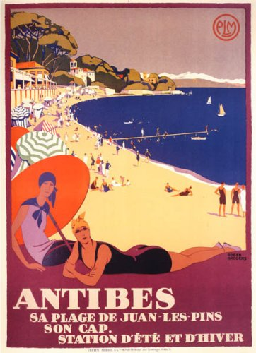 Girl On The Beach Antibes Juan Les Pins Ocean Sailboat Large Vintage Poster Repro