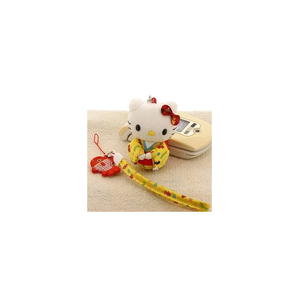 Sanrio Hello Kitty Chirimen Kimono Kitty & Gold Fish Phone Strap (Yellow)   Japanese Import ***Free Domestic Shipping for This Item***