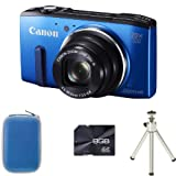 Canon PowerShot SX270 HS Compact Digital Camera - Blue + Case + 8GB Memory and Tripod (12.1MP, 20x Optical Zoom) 3 inch LCD