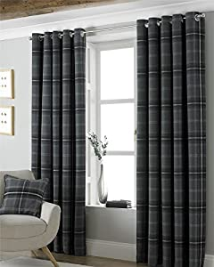 """Tartan Check Woven Wool Look Grey Lined 90"""" X 72"""" - 229cm X 183cm Ring Top Curtains from Curtains"""