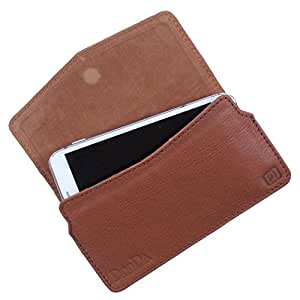 Dooda Genuine Leather Pouch Case For Lava Xolo Q700 (TAN BROWN)
