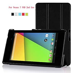 IVSO® Slim Smart Cover Case for Google Nexus 7 FHD 2013 Tablet with Auto Sleep/Wake Function (Black)