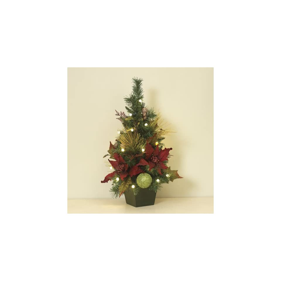 Battery Operated, Pre Lit Floral Poinsettia Tree   Battery Operated, Pre Lit Floral Poinsettia Tree