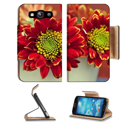 Bouquet Red Chrysanthemum Flower Yellow Center Samsung Galaxy S3 I9300 Flip Cover Case With Card Holder Customized Made To Order Support Ready Premium Deluxe Pu Leather 5 Inch (132Mm) X 2 11/16 Inch (68Mm) X 9/16 Inch (14Mm) Liil S Iii S 3 Professional Ca