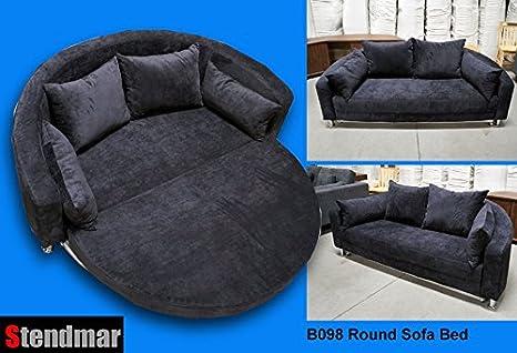 Modern Round Sleeper Bed Sofa Black Microfiber B098bk