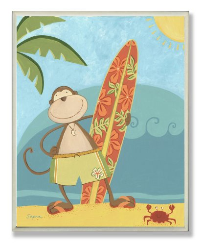 The Kids Room by Stupell Monkey with Surfboard on the Beach Rectangle Wall Plaque
