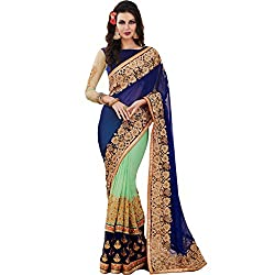 Vasu Saree For Women Blue Shaded Party Wear Embroidered Saree With Designer Zari Floral Lace Work