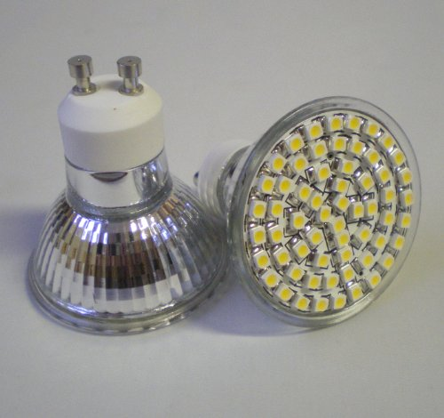 10 X GU10 SMD 60 LED LIGHT BULBS ENERGY SAVING 4W WARM WHITE ** HIGH POWER SPOT LAMPS FOR REPLACING 50W - 60W HALOGEN **
